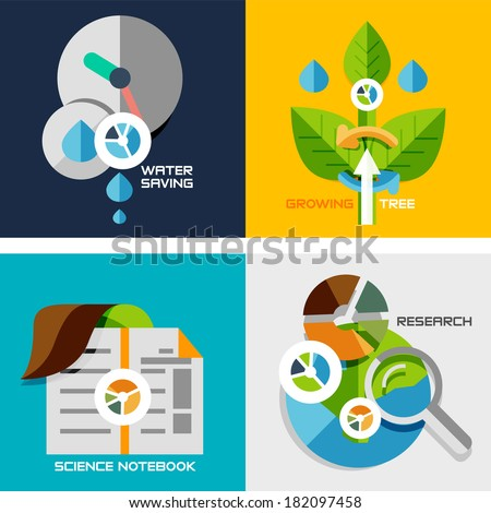Set of flat design concepts - nature research. Water saving, plant growth, science notebook, research, - stock vector