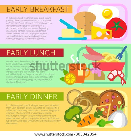 Set of flat design concepts of early meals, including breakfast, lunch and dinner on colored background - stock vector