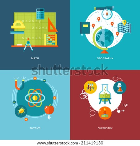 Set of flat design concepts of school subjects icons for mobile apps and web design. Icons for math, geography, physics and chemistry. - stock vector