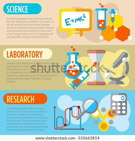 Set of flat design concepts of science, laboratory work and research on colored background - stock vector