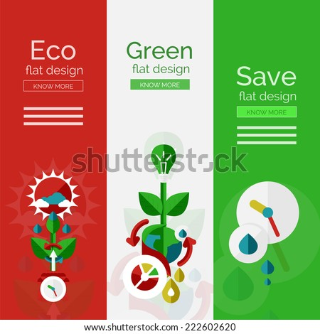 Set of flat design eco concepts, banners with promo text - stock vector