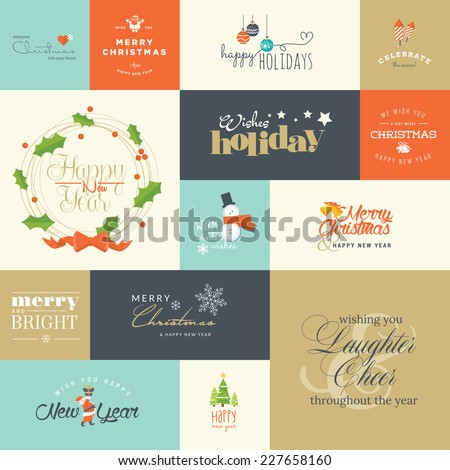 Set of flat design elements for Christmas and New Year greeting cards and labels, web badges and banners, and printed materials    - stock vector