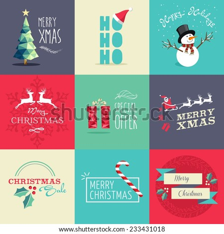 Set of flat design elements for Christmas. Ideal for greeting card, poster and web template. EPS10 vector file organized in layers for easy editing. - stock vector