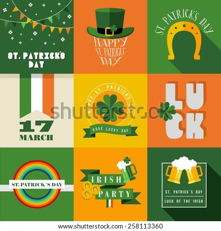 Set of flat design elements for St Patricks day. Ideal for greeting card, poster and web template. EPS10 vector file organized in layers for easy editing. - stock vector
