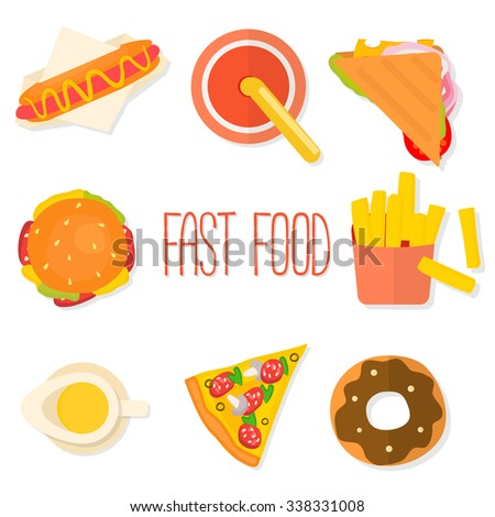 Set of flat design fast food icons isolated on white background. Vector illustration.