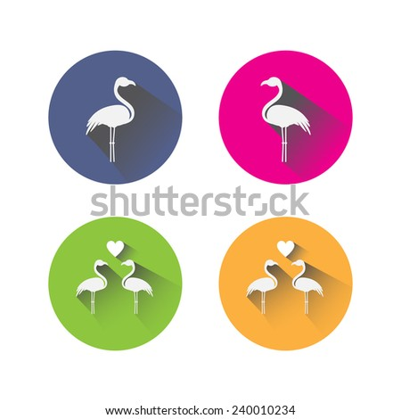 set of flat design flamingo icons - stock vector