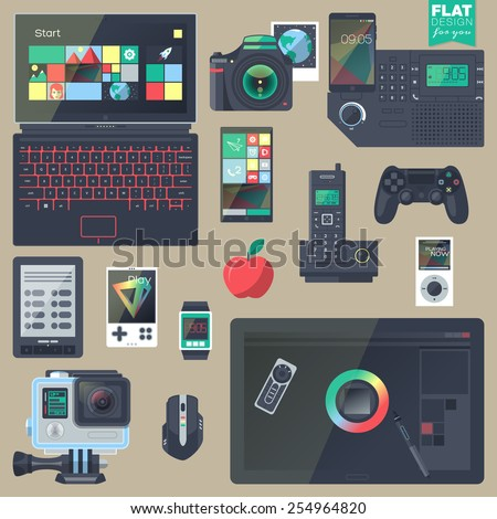 Set of flat design gadgets, electronic devices, mobile phone communications. Design items for business, website design app, promotional materials, info graphics, web and mobile phone services. - stock vector