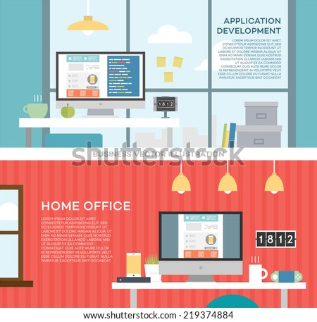 Set of Flat Design Icons. Application and Web Sites Development Concept. Website Coding or Html Programming Concept Vector. Programmer or Coder Workflow. Web Services Business Idea. Modern Style. - stock vector