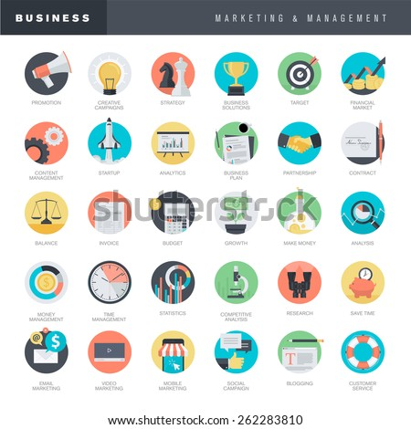 Set of flat design icons for business and marketing      - stock vector