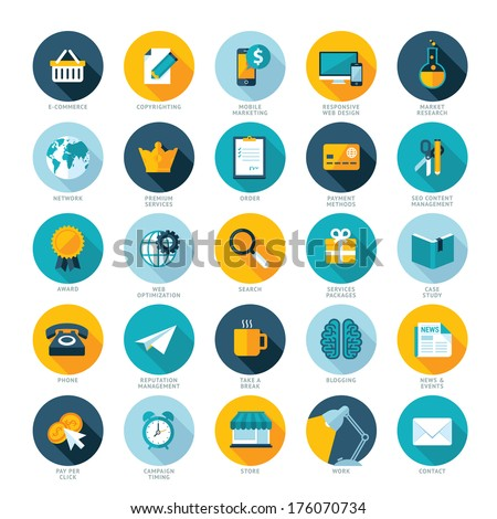 Set of flat design icons for E-commerce, Pay per click marketing, Responsive web design, SEO, Reputation management and Internet marketing  - stock vector