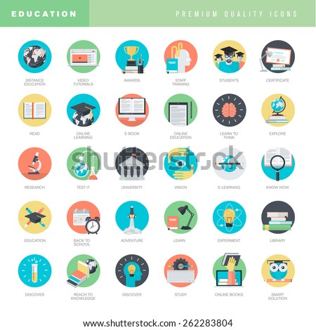 Set of flat design icons for education     - stock vector