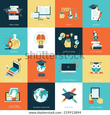 Set of flat design icons for education. Icons for online education, video tutorials, staff training, online book store, learning, research, knowledge, online book.      - stock vector