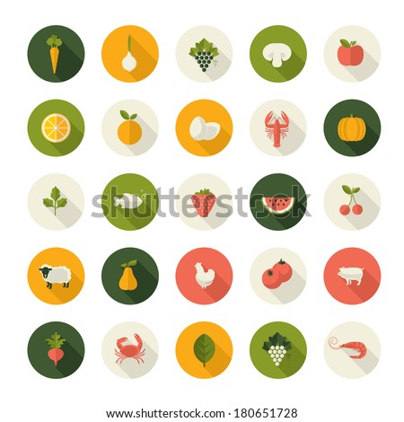 Set of flat design icons for food and drink. - stock vector
