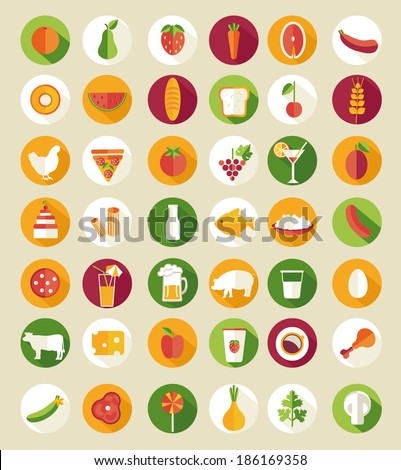 Set of flat design icons for food and drink, vector illustration.