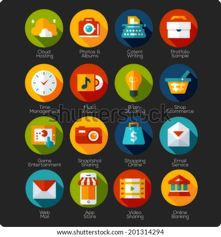 set of flat design Icons for mobile devices, mobile app, social network, online shopping and socila media - stock vector
