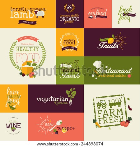 Set of flat design icons for natural organic food and drink, restaurant, farm fresh products - stock vector