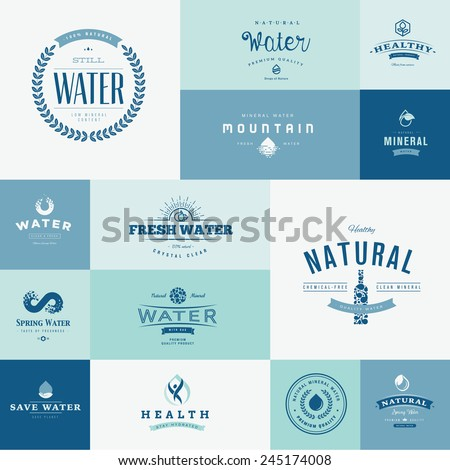 Set of flat design icons for water - stock vector