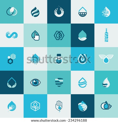 Set of flat design icons for water and nature for websites, print and promotional materials, web and mobile services and apps icons, for food and drink, healthcare, spa, organic product, environment.  - stock vector