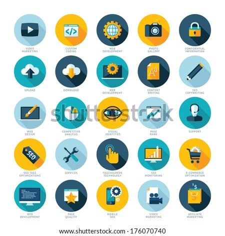 Set of flat design icons for Web design development, SEO and Internet marketing  - stock vector