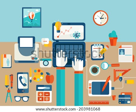 Set of Flat Design Icons.  Marketing Technologies, Concept Icons for Web Site Design. Digital Art and Gadgets. Flat modern design vector illustration concept of creative office workspace, workplace. - stock vector