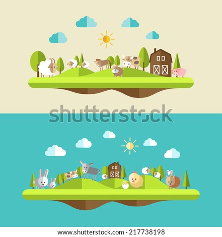Set of flat design icons with farm animals - stock vector