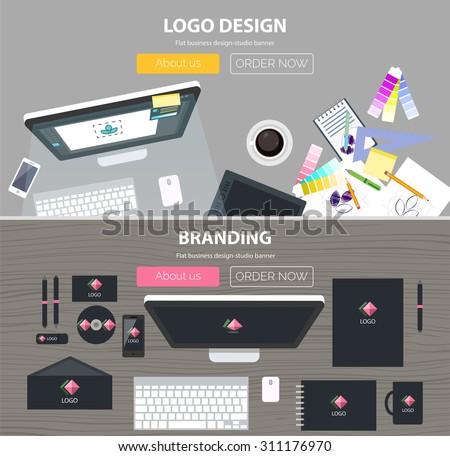 Set of flat design illustration concepts for branding design development, logo design, graphic design, design agency. Concepts for web banner and printed materials. - stock vector