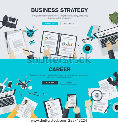 Set of flat design illustration concepts for business, finance, consulting, management, human resources, career, employment agency, staff training. Concepts for web banner and printed materials. - stock vector