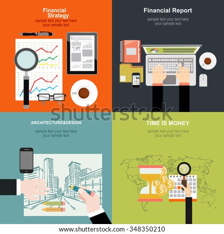 Set of flat design illustration concepts for business, finance, consulting, management, human resources, career,architecture and design.Concepts for web banner and printed materials. - stock vector