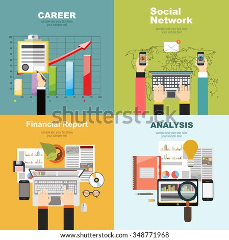 Set of flat design illustration concepts for business, finance, consulting, management, human resources, career, employment agency, startup, technology. - stock vector