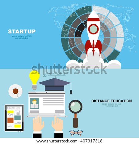 Set of flat design illustration concepts for business, startup. Education and online courses, web tutorials, e-learning. Study and creative process.Concepts web banner and printed materials. - stock vector