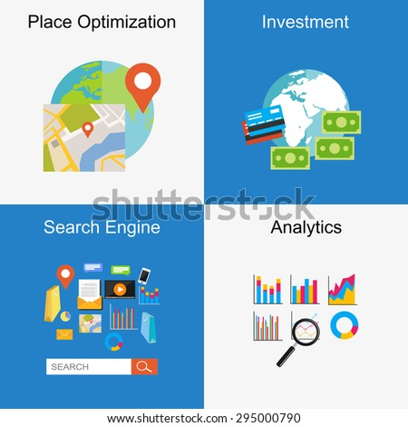 Set of flat design illustration concepts for place optimization, search engine, investment, analytics, online transaction. - stock vector