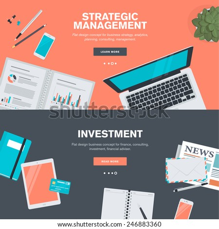 Set of flat design illustration concepts for strategic management and investment. Concepts for web banners and promotional materials.   - stock vector