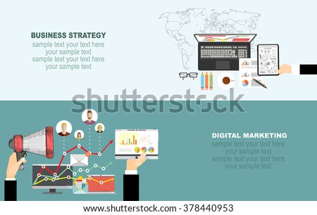 Set of flat design illustration concepts for video and digital marketing.Concepts for business planning and accounting, analysis, team work,audit, project management, marketing.