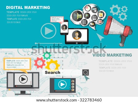 Set of flat design illustration concepts for video and digital marketing. Concepts for web banner and promotional material. - stock vector