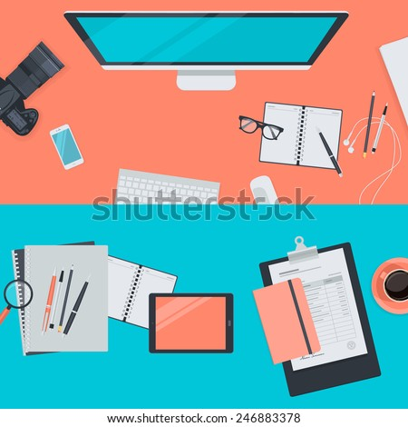 Set of flat design illustration concepts for workspace. Concepts for web banners and promotional materials.   - stock vector