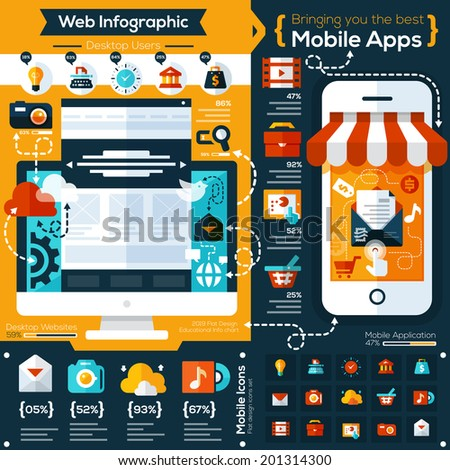 set of flat design illustrations and flat icons for mobile phone and web apps. Icons for social network, file sharing, online shopping  and mobile services  - stock vector