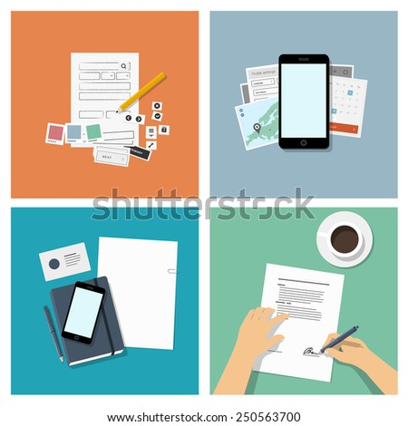 Set of flat design illustrations, top view - mobile app development & business concept - stock vector