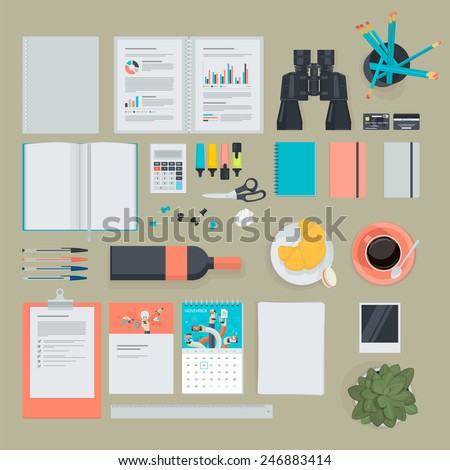 Set of flat design items for business, finance, marketing. The set can be used for website design, print templates, promotional materials, infographics, web and mobile phone services and app. - stock vector