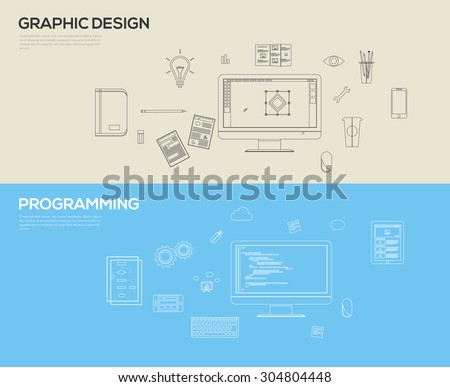 Set of flat design line art illustration concepts for web design development and graphic design  - stock vector