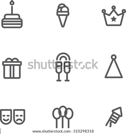 Set of flat design linear icons of birthday topic. All you need for party is there. There are 9 icons including cake, ice-cream, crown, gift box,glass with champagne,party hat, mask,balloon,firework - stock vector