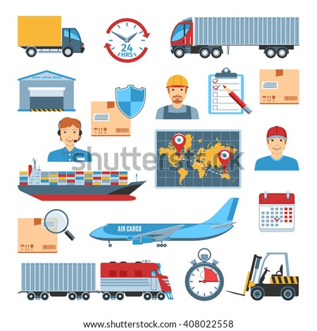 Set Of Flat Design Logistic And Delivery Icons. Isolated Vector Illustration - stock vector