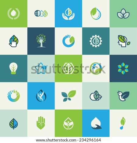 Set of flat design nature icons for websites, print and promotional materials, web and mobile services and apps, for food and drink, healthcare, spa, environment, cosmetics, wellness, natural product. - stock vector