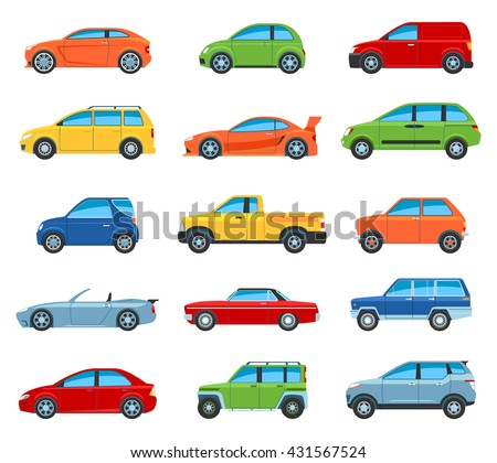 Set Of Flat Design Passenger Car Icons. Isolated Vector Illustration