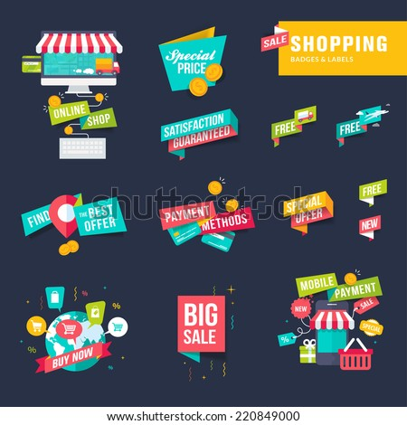 Set of flat design shopping badges and labels - stock vector