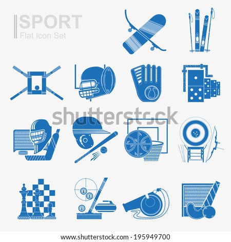 set of flat design sport icon with isolated blue silhouette sport inventory and sports equipment - stock vector