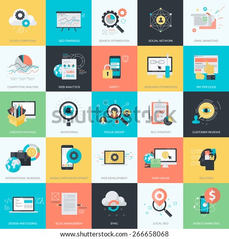 Set of flat design style concept icons for graphic and web design. Icons for website development, SEO, e-commerce, m-commerce, online marketing, cloud computing, social media. - stock vector