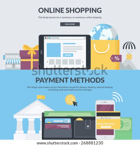 Set of flat design style concepts for e-commerce, m-commerce, online shopping, finance, banking, internet banking, m-banking. Concepts for website banners and printed materials.     - stock vector