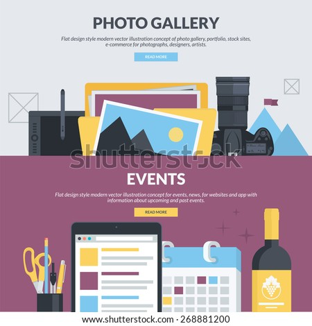 Set of flat design style concepts for photo gallery, portfolio, stock sites, e-commerce, events, news. Concepts for website banners and printed materials, for designers, photographs, artists.     - stock vector