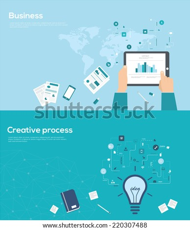 Set of flat design style for business and creative process infographics.  Vector Illustration - stock vector