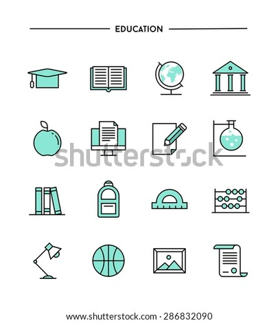 set of flat design, thin line education icons, vector illustration - stock vector